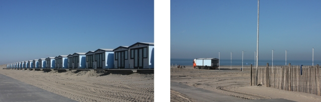 The huts are placed on the beach for summer. Photos: RM