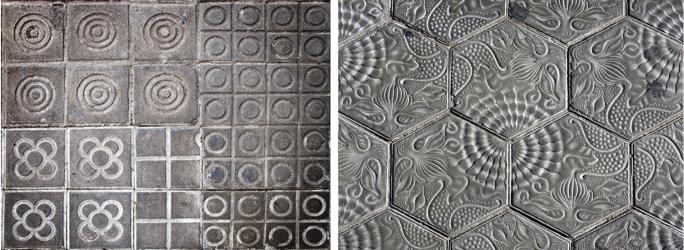 Panots. L: Mix including Flor de Barcelona. R: Hexagonal panots by Gaudi