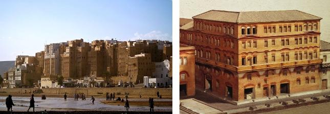 Left: Shibam, Yemen. Right: Insulae; Roman apartment building.